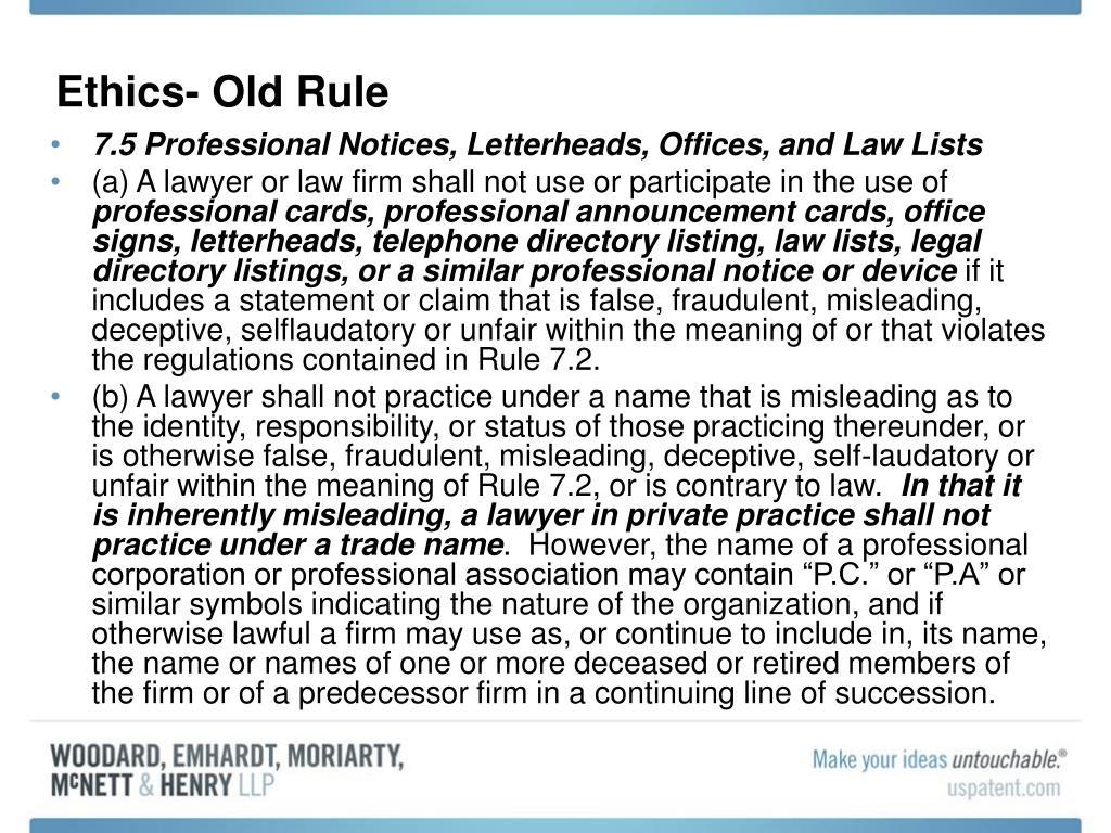 Ethics- Old Rule
