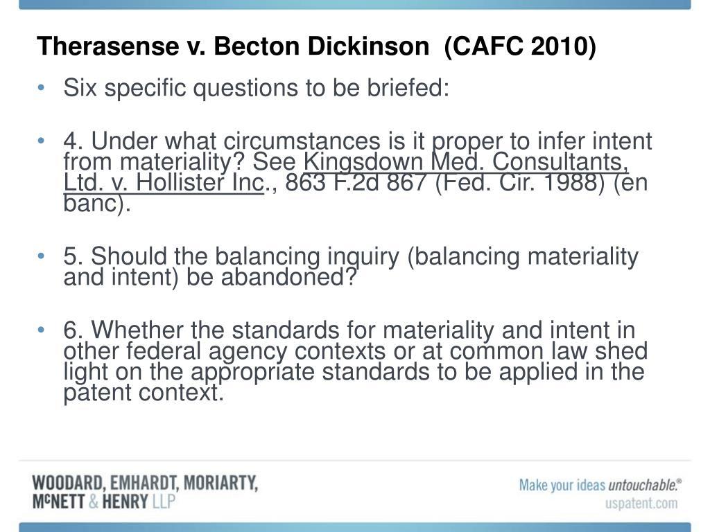 Therasense v. Becton Dickinson  (CAFC 2010)