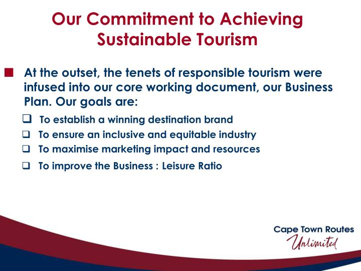 Our Commitment to Achieving Sustainable Tourism
