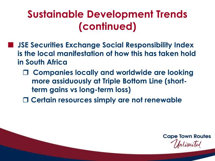Sustainable Development Trends (continued)