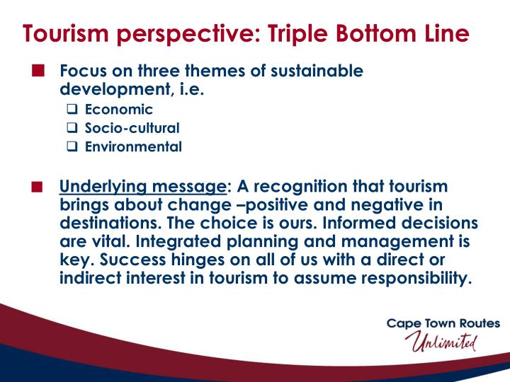 Tourism perspective: Triple Bottom Line