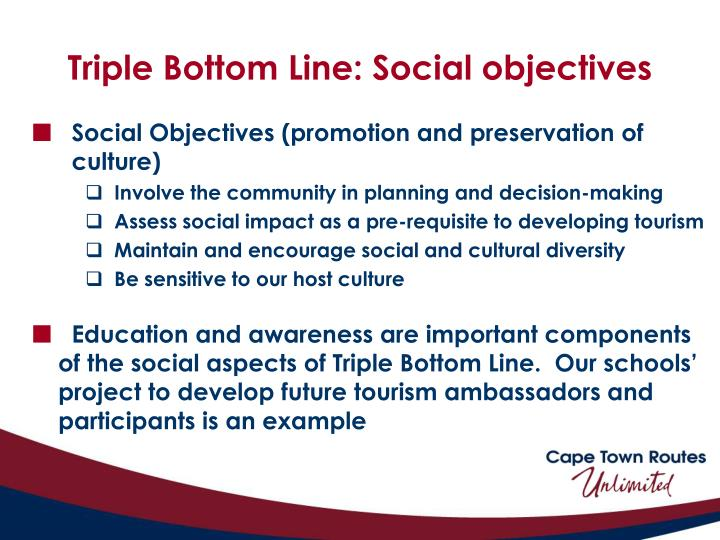 Triple Bottom Line: Social objectives