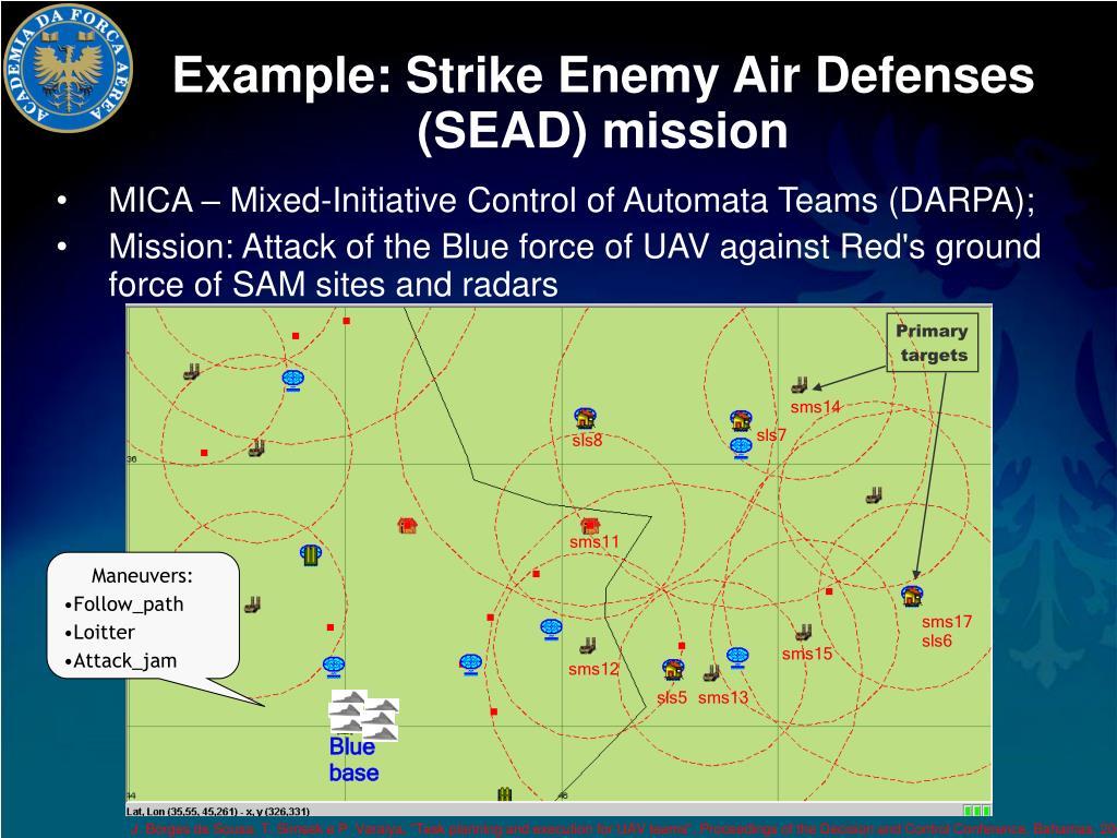 Example: Strike Enemy Air Defenses (SEAD) mission
