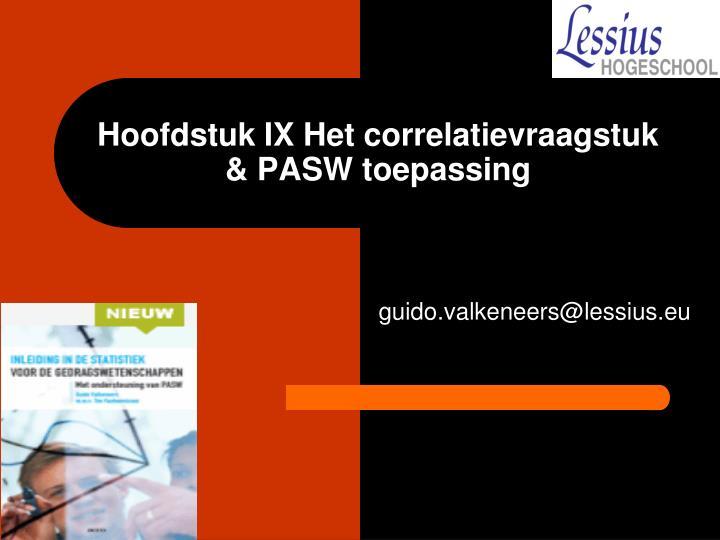 Hoofdstuk IX Het correlatievraagstuk & PASW toepassing