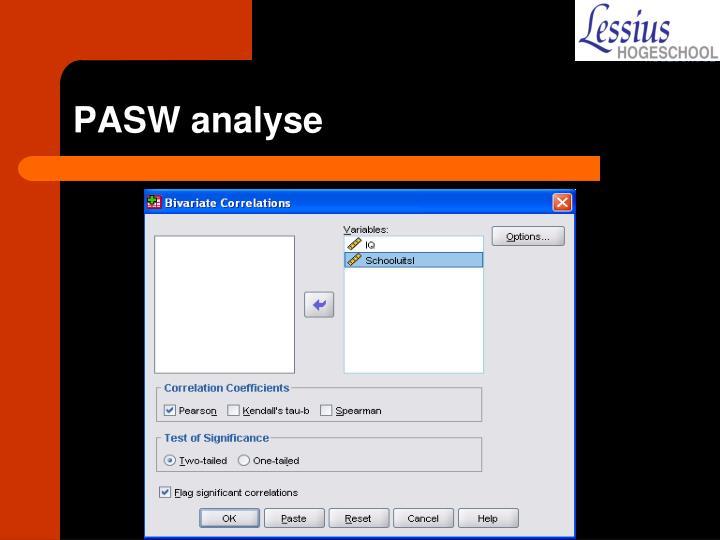 PASW analyse