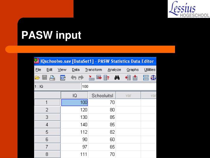 PASW input