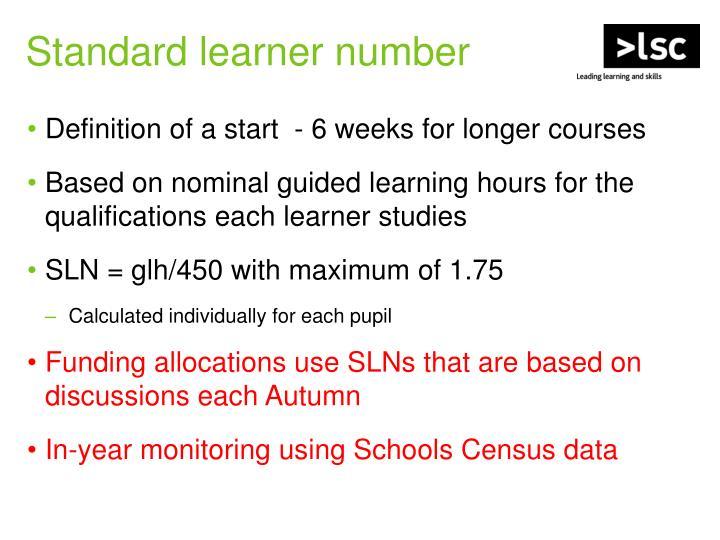 Standard learner number