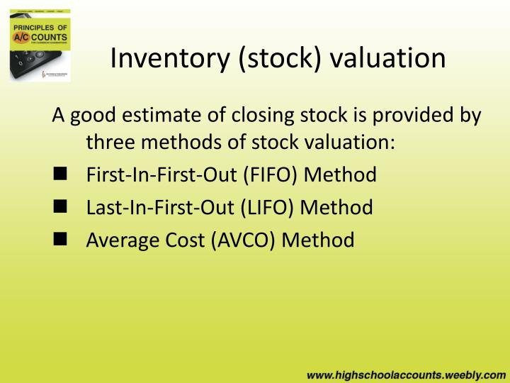 Inventory stock valuation