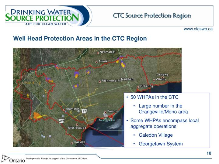 Well Head Protection Areas in the CTC Region