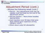adjustment period cont