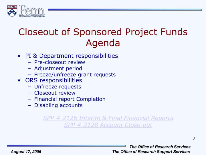 Closeout of sponsored project funds agenda