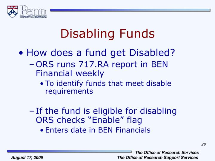 Disabling Funds