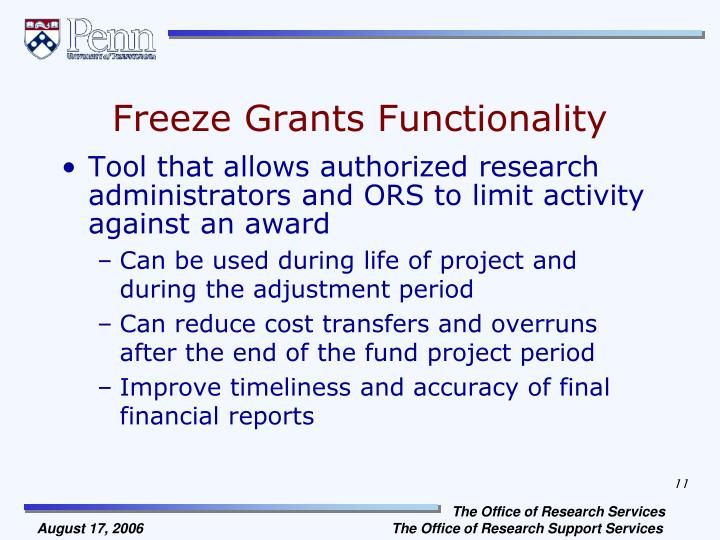 Freeze Grants Functionality