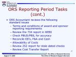 ors reporting period tasks cont3