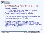 ors reporting period tasks cont5