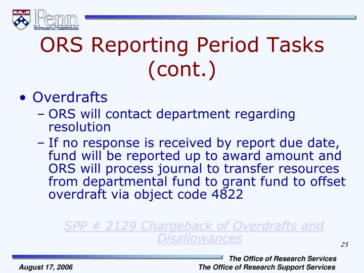 ORS Reporting Period Tasks (cont.)