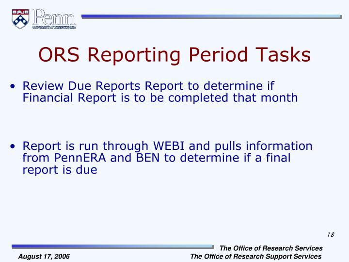 ORS Reporting Period Tasks