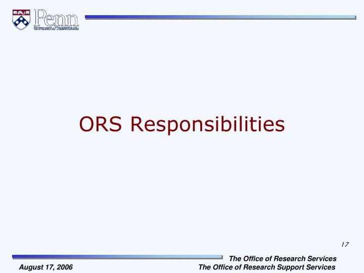 ORS Responsibilities
