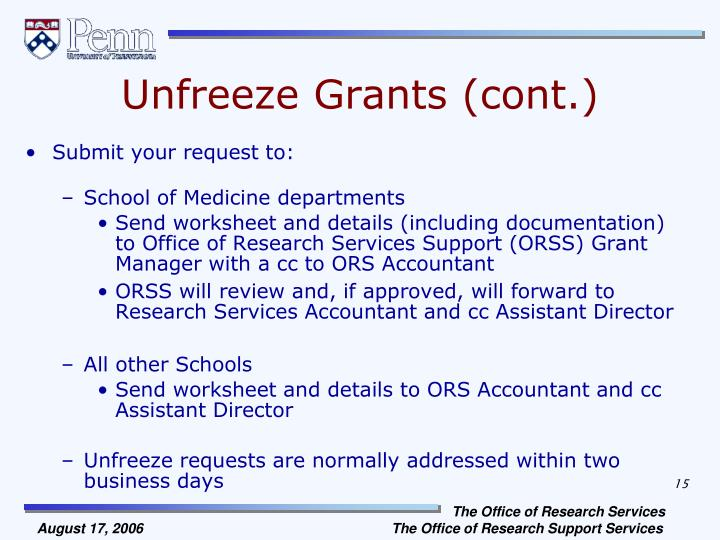 Unfreeze Grants (cont.)