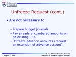 unfreeze request cont1