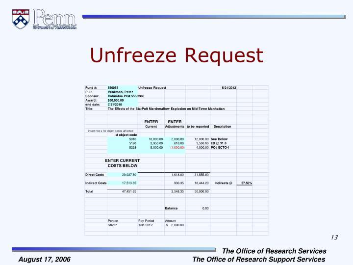 Unfreeze Request