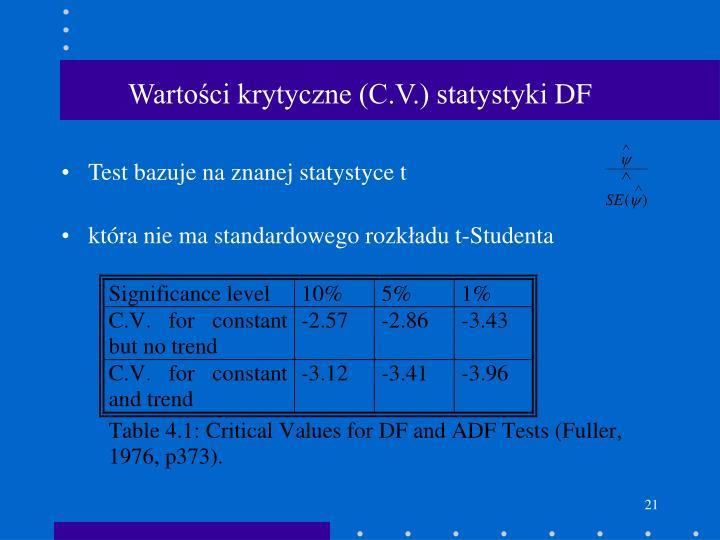 Wartości krytyczne (C.V.) statystyki