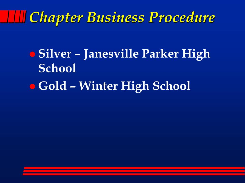 Chapter Business Procedure