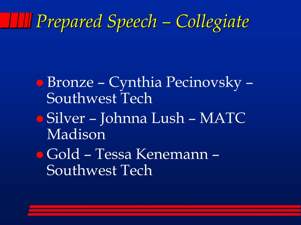 Prepared Speech – Collegiate