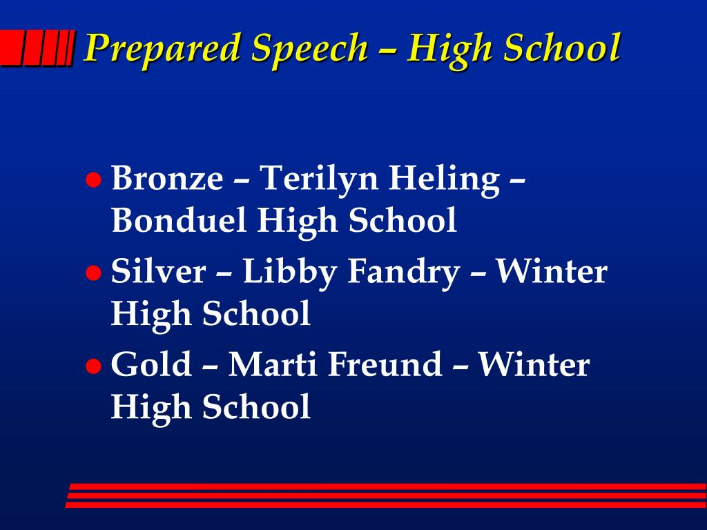 Prepared Speech – High School