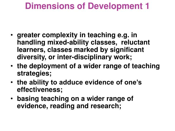 Dimensions of Development 1
