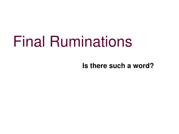 Final Ruminations