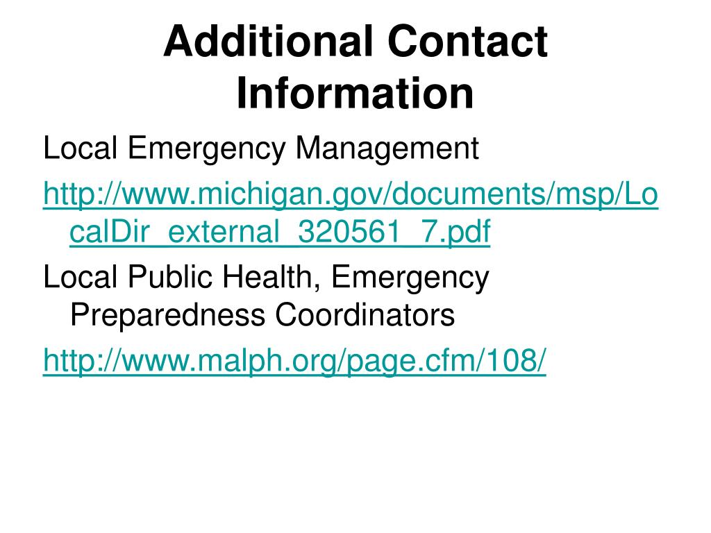 Additional Contact Information