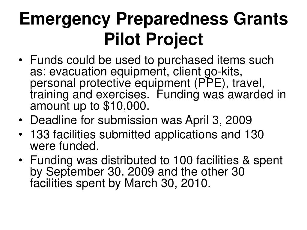 Emergency Preparedness Grants Pilot Project