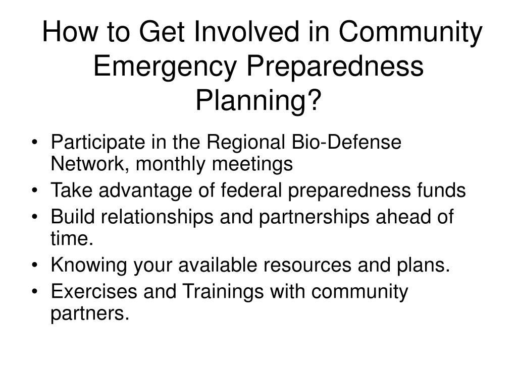 How to Get Involved in Community Emergency Preparedness Planning?