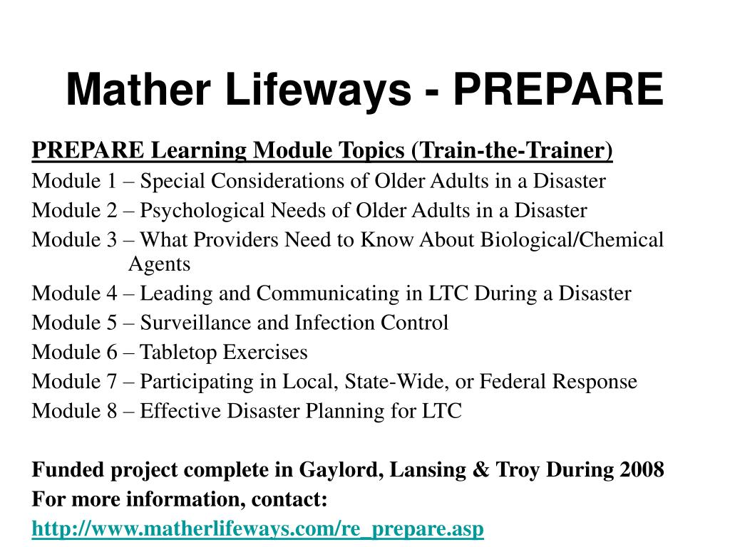 Mather Lifeways - PREPARE