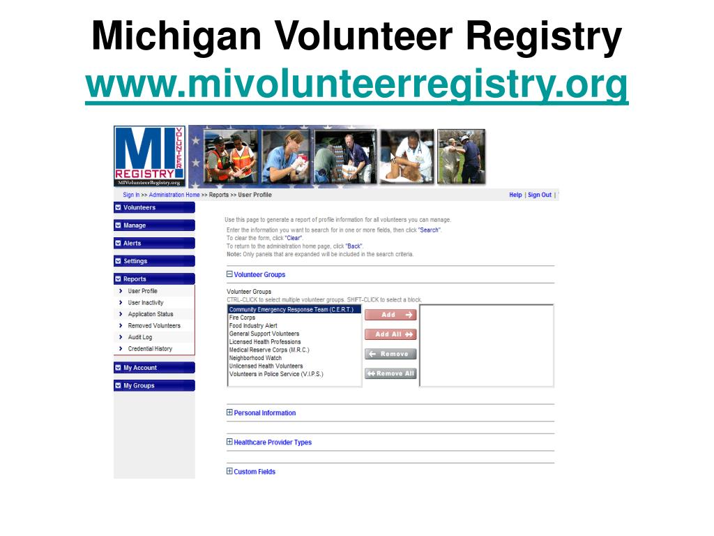 Michigan Volunteer Registry