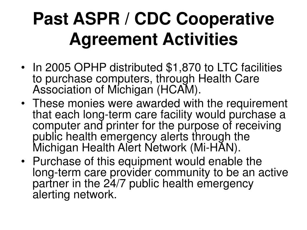 Past ASPR / CDC Cooperative Agreement Activities