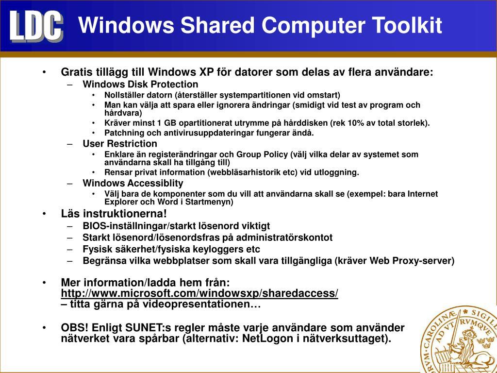 Windows Shared Computer Toolkit