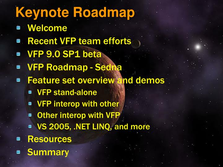 Keynote roadmap