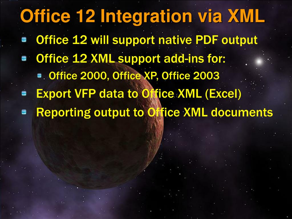 Office 12 Integration via XML