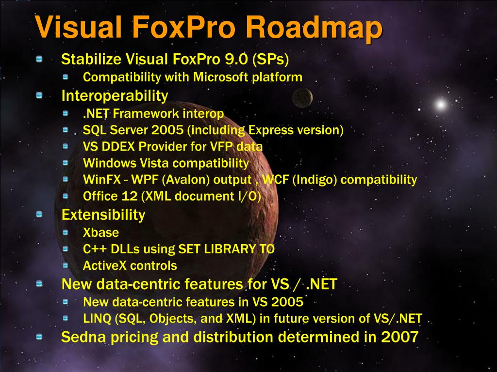 Visual FoxPro Roadmap