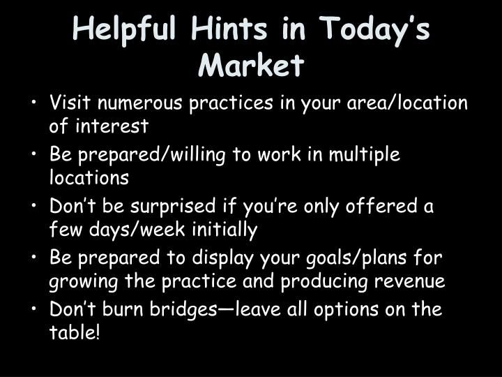 Helpful Hints in Today's Market