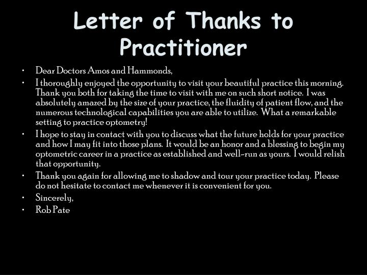 Letter of Thanks to Practitioner