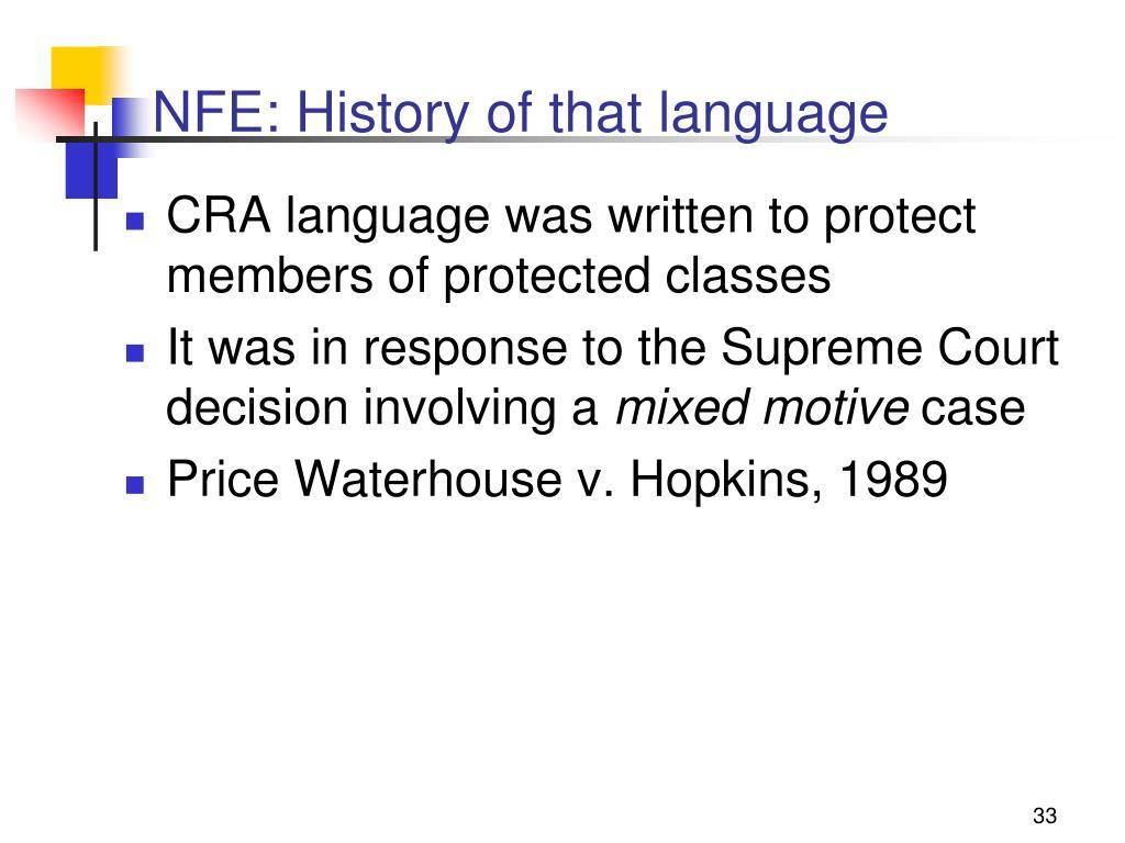 NFE: History of that language