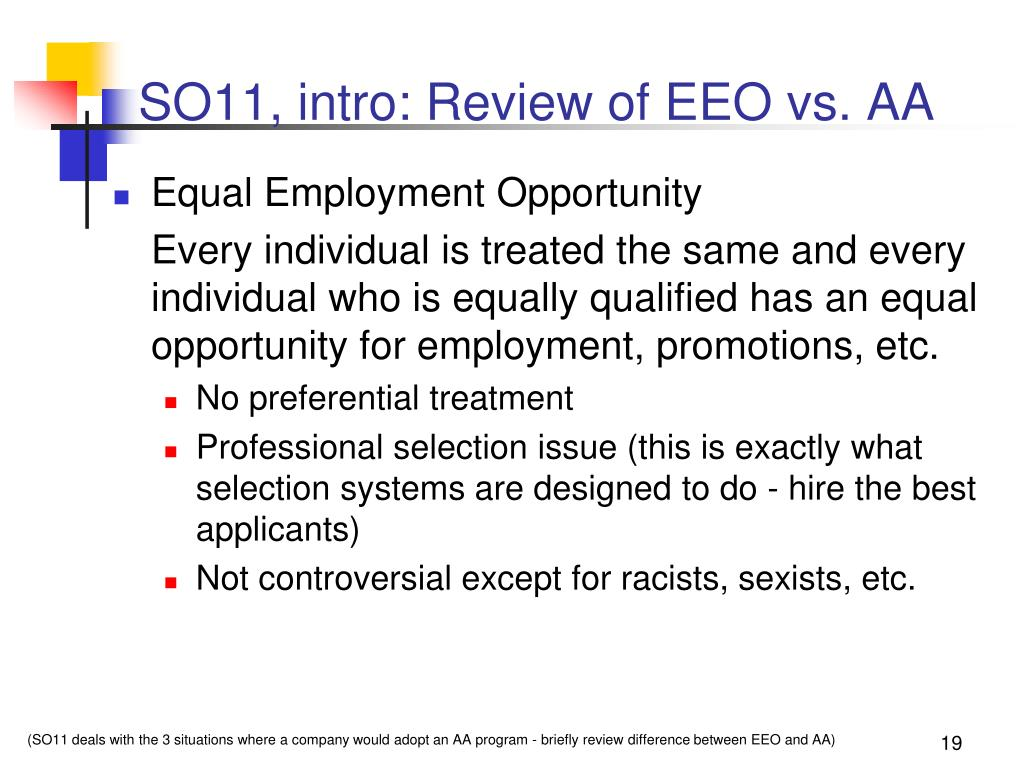 SO11, intro: Review of EEO vs. AA