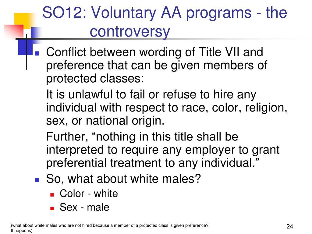 SO12: Voluntary AA programs - the