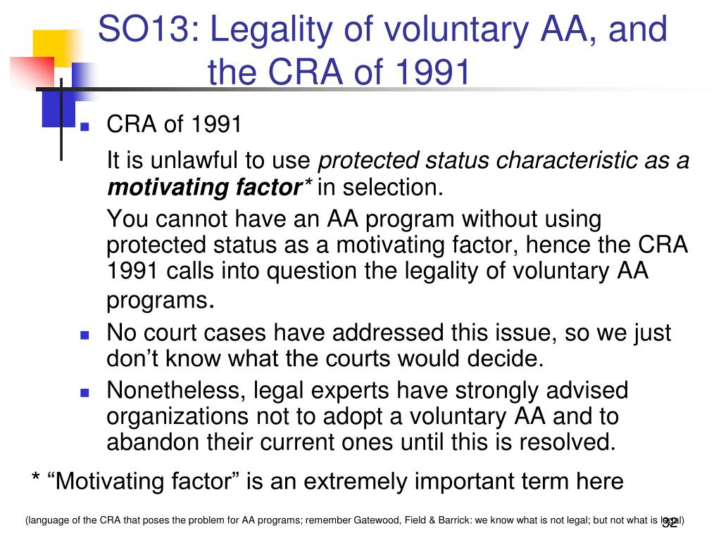 SO13: Legality of voluntary AA, and
