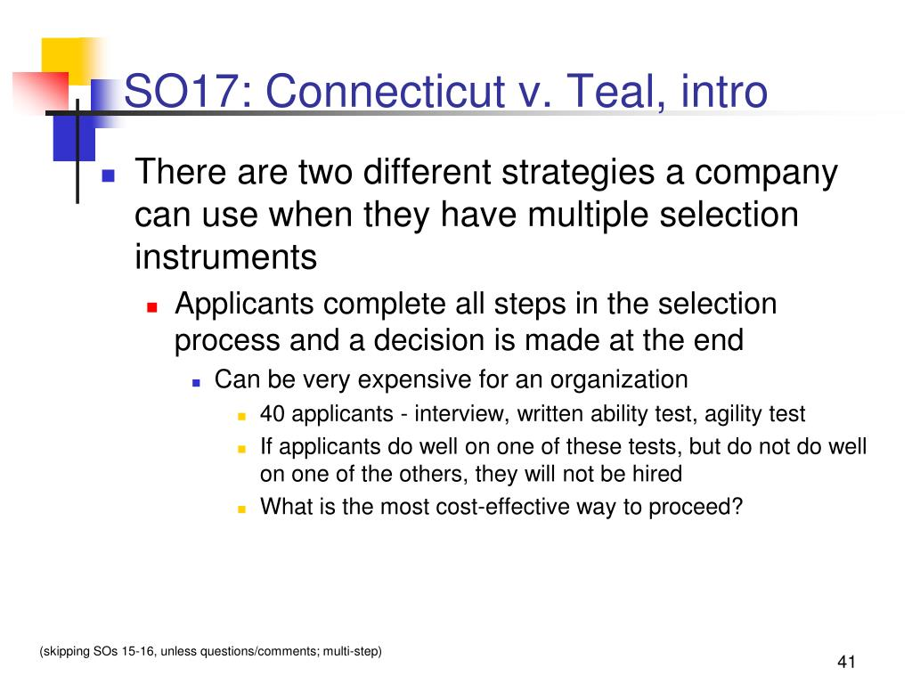 SO17: Connecticut v. Teal, intro