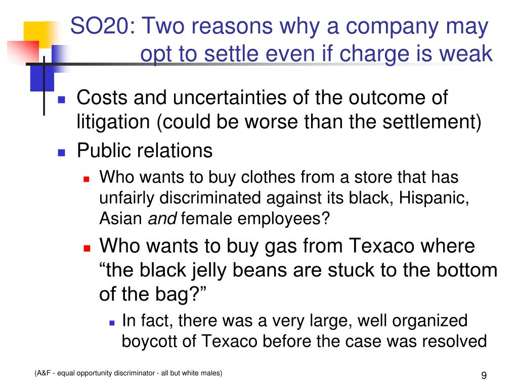 SO20: Two reasons why a company may