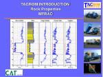 tacrom introduction rock properties mfrac